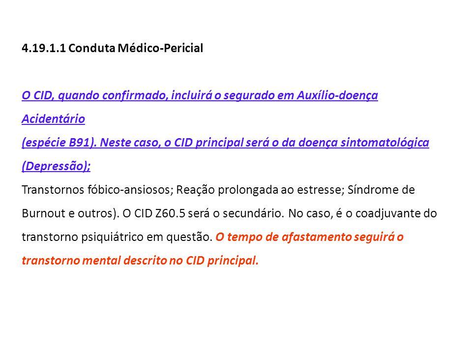 4.19.1.1 Conduta Médico-Pericial O CID, quando confirmado, incluirá o segurado em Auxílio-doença Acidentário (espécie B91). Neste caso, o CID principa