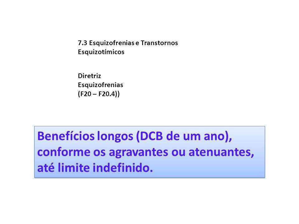 7.3 Esquizofrenias e Transtornos Esquizotímicos Diretriz Esquizofrenias (F20 – F20.4)) Benefícios longos (DCB de um ano), conforme os agravantes ou at