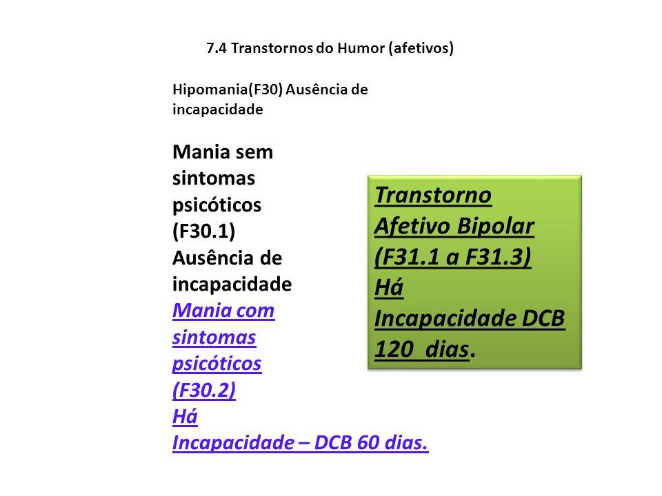 7.4 Transtornos do Humor (afetivos) Hipomania(F30) Ausência de incapacidade Mania sem sintomas psicóticos (F30.1) Ausência de incapacidade Mania com s