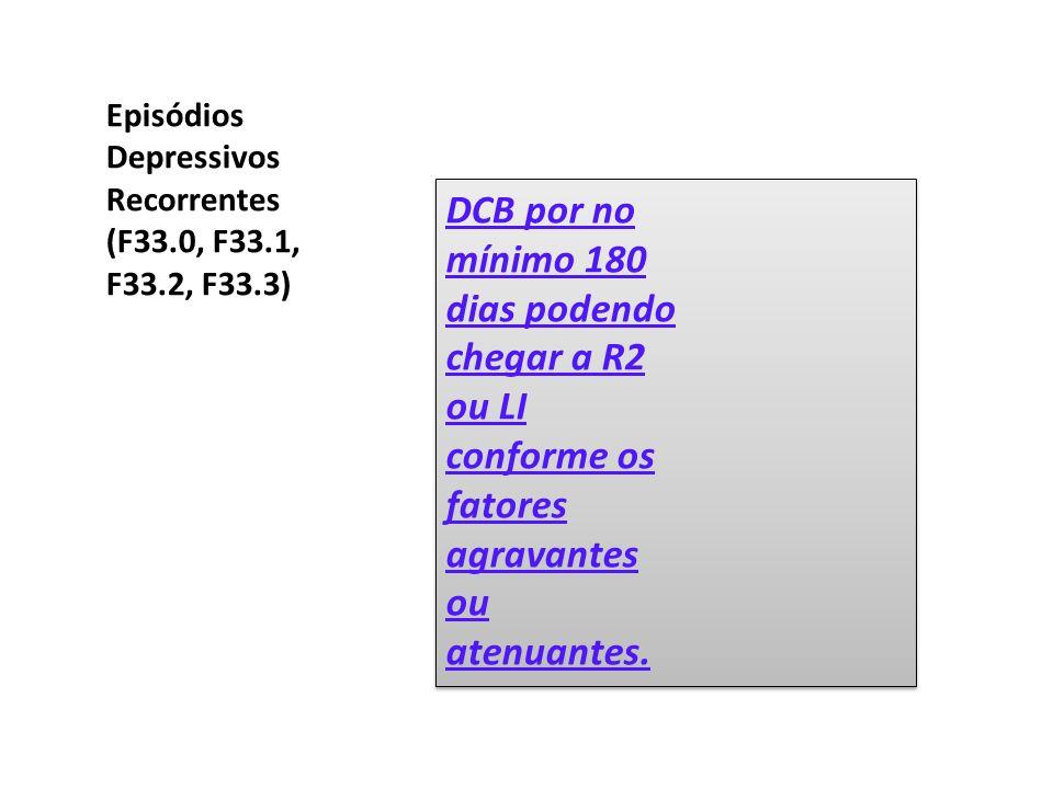 Episódios Depressivos Recorrentes (F33.0, F33.1, F33.2, F33.3) DCB por no mínimo 180 dias podendo chegar a R2 ou LI conforme os fatores agravantes ou