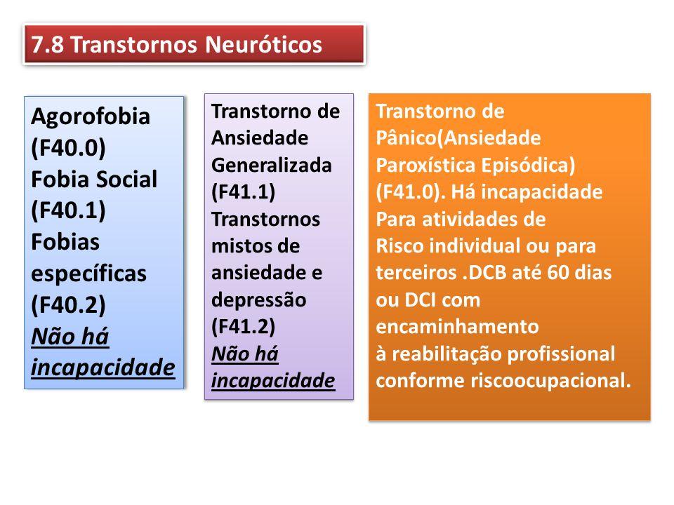 7.8 Transtornos Neuróticos Agorofobia (F40.0) Fobia Social (F40.1) Fobias específicas (F40.2) Não há incapacidade Agorofobia (F40.0) Fobia Social (F40