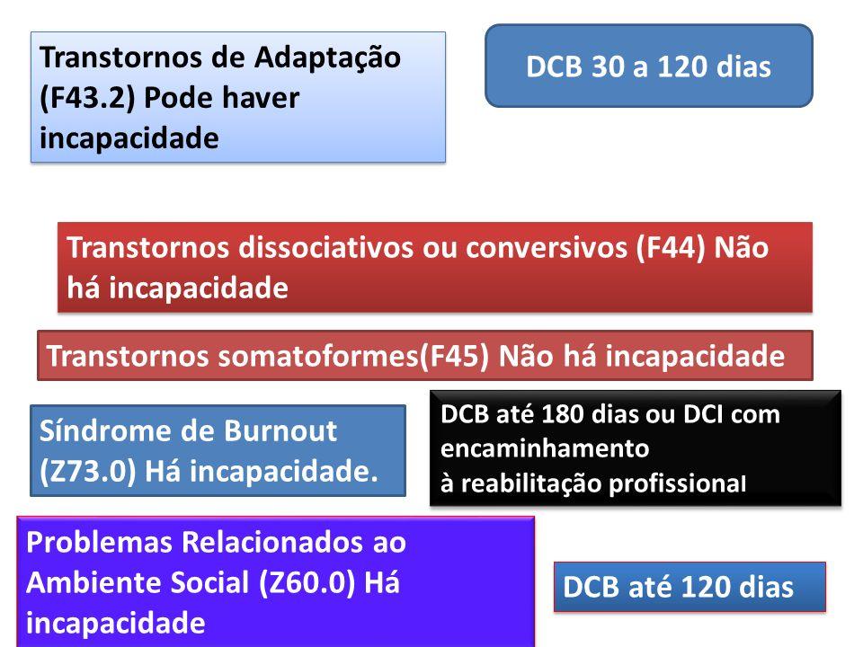 Transtornos de Adaptação (F43.2) Pode haver incapacidade DCB 30 a 120 dias Transtornos dissociativos ou conversivos (F44) Não há incapacidade Transtor