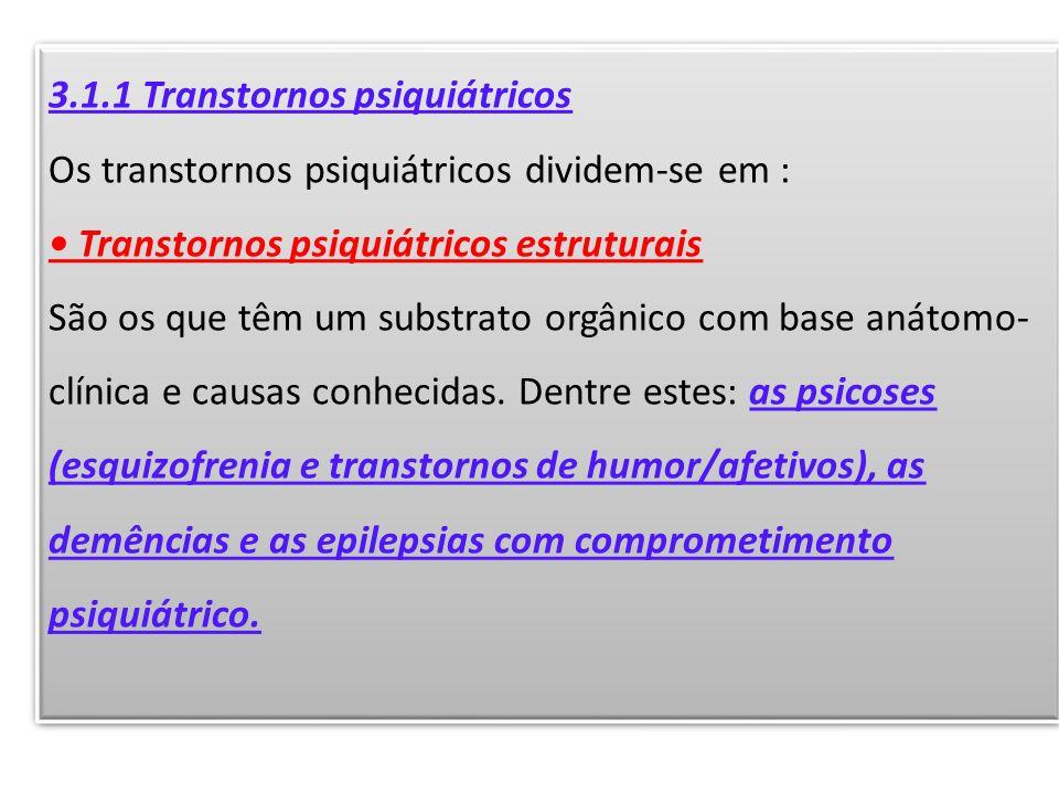 3.1.1 Transtornos psiquiátricos Os transtornos psiquiátricos dividem-se em : Transtornos psiquiátricos estruturais São os que têm um substrato orgânic
