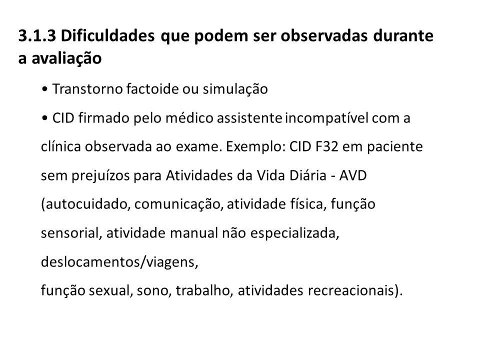 Transtorno factoide ou simulação CID firmado pelo médico assistente incompatível com a clínica observada ao exame. Exemplo: CID F32 em paciente sem pr