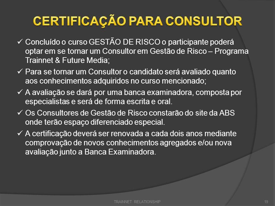 TRAINNET RELATIONSHIP19 Concluído o curso GESTÃO DE RISCO o participante poderá optar em se tornar um Consultor em Gestão de Risco – Programa Trainnet