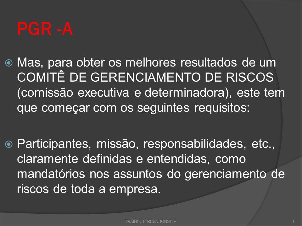PGR-A Um Comitê de Gestão de Riscos, estará apto para determinar o gerenciamento dos riscos de modo eficaz em sua missão, se formado com Diretores, Gerentes, Supervisores e colaboradores da empresa.