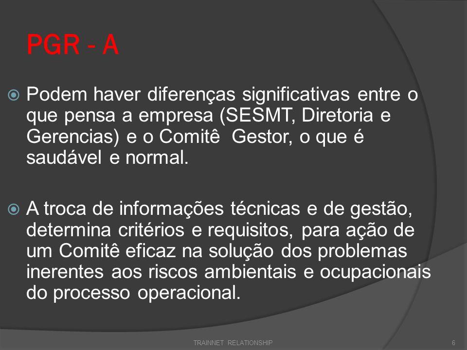 PGR - A Podem haver diferenças significativas entre o que pensa a empresa (SESMT, Diretoria e Gerencias) e o Comitê Gestor, o que é saudável e normal.