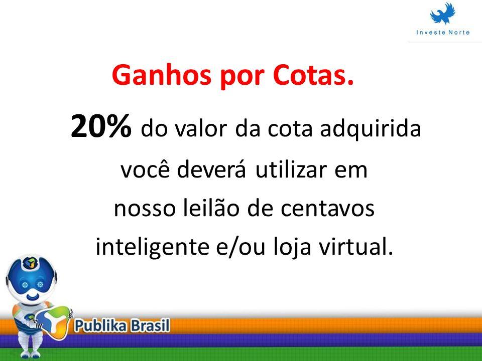 20% do valor da cota adquirida você deverá utilizar em nosso leilão de centavos inteligente e/ou loja virtual. Ganhos por Cotas.