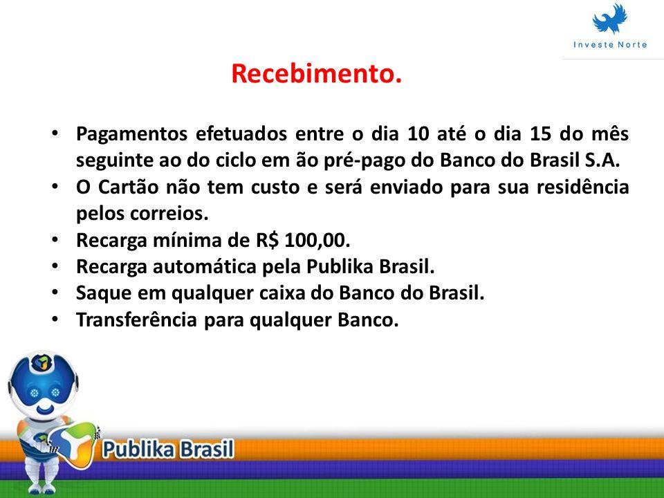 Pagamentos efetuados entre o dia 10 até o dia 15 do mês seguinte ao do ciclo em ão pré-pago do Banco do Brasil S.A. O Cartão não tem custo e será envi