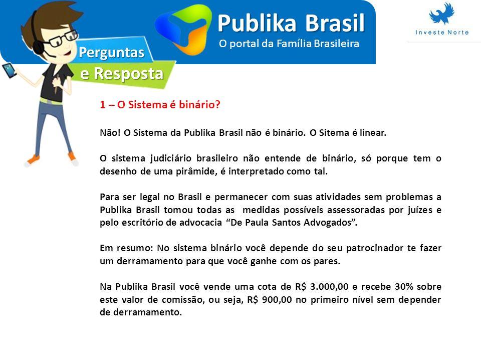 Perguntas e Resposta Publika Brasil O portal da Família Brasileira 1 – O Sistema é binário? Não! O Sistema da Publika Brasil não é binário. O Sitema é