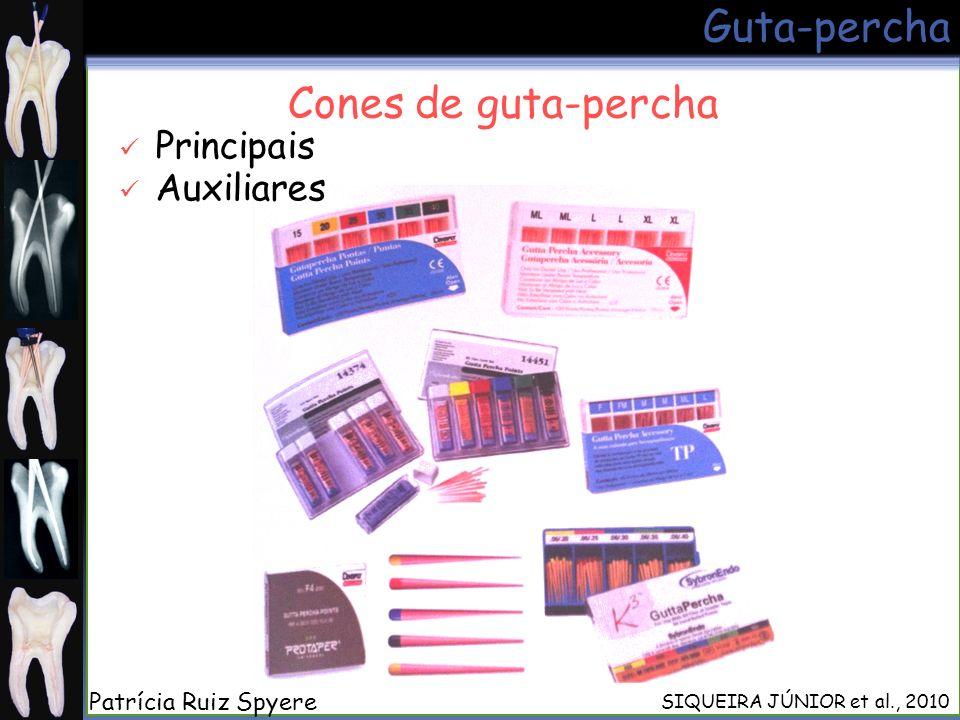 Guta-percha Cones de guta-percha SIQUEIRA JÚNIOR et al., 2010 Principais Auxiliares Patrícia Ruiz Spyere