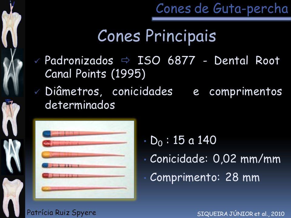 Diâmetros, conicidades e comprimentos determinados Padronizados ISO 6877 - Dental Root Canal Points (1995) D 0 : 15 a 140 Conicidade: 0,02 mm/mm Compr
