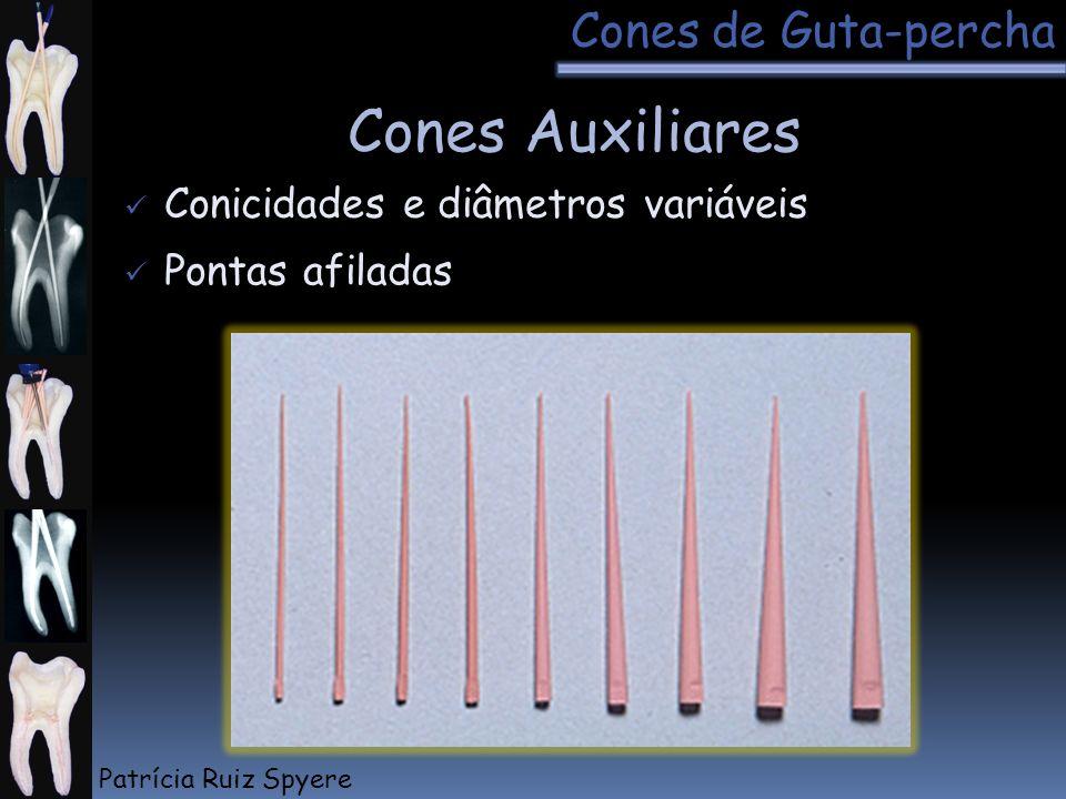 Pontas afiladas Conicidades e diâmetros variáveis Cones Auxiliares Cones de Guta-percha Patrícia Ruiz Spyere