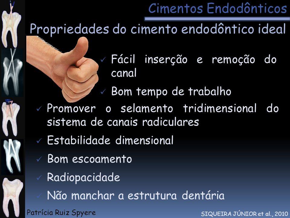 Propriedades do cimento endodôntico ideal Cimentos Endodônticos SIQUEIRA JÚNIOR et al., 2010 Fácil inserção e remoção do canal Bom tempo de trabalho P
