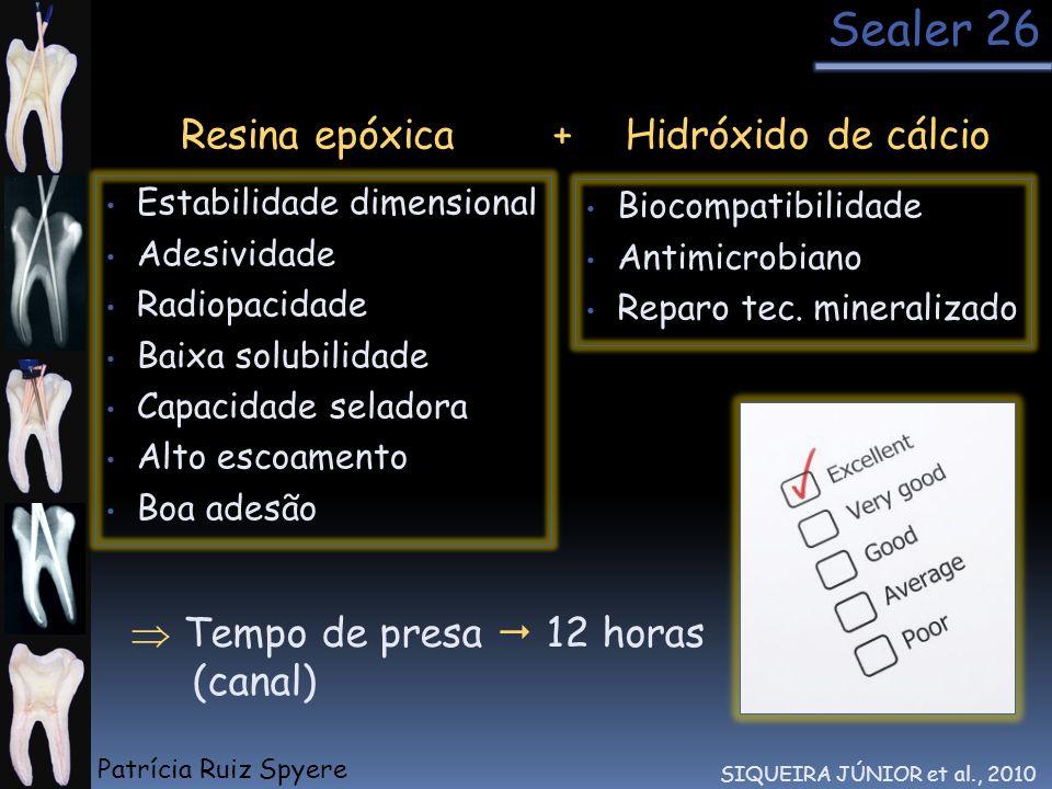 Sealer 26 Resina epóxica Estabilidade dimensional Adesividade Radiopacidade Baixa solubilidade Capacidade seladora Alto escoamento Boa adesão Biocompa