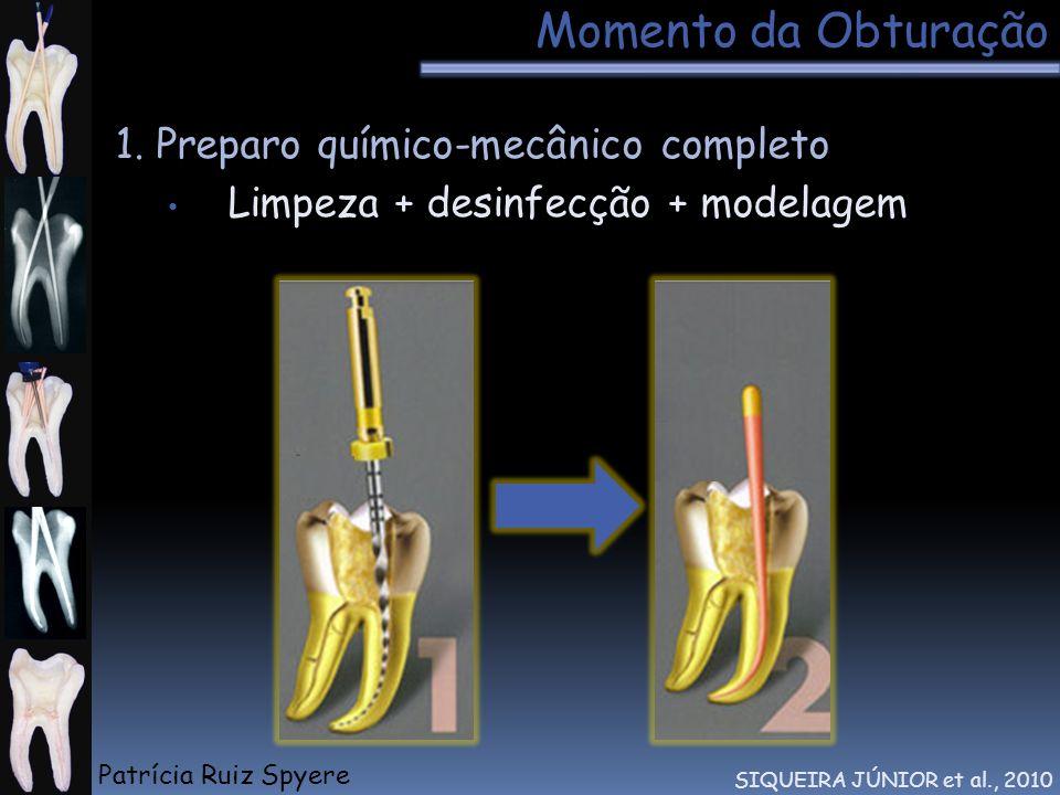 Momento da Obturação 1. Preparo químico-mecânico completo Limpeza + desinfecção + modelagem SIQUEIRA JÚNIOR et al., 2010 Patrícia Ruiz Spyere