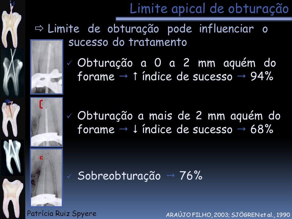 Limite apical de obturação Limite de obturação pode influenciar o sucesso do tratamento ARAÚJO FILHO, 2003; SJÖGREN et al., 1990 Obturação a 0 a 2 mm