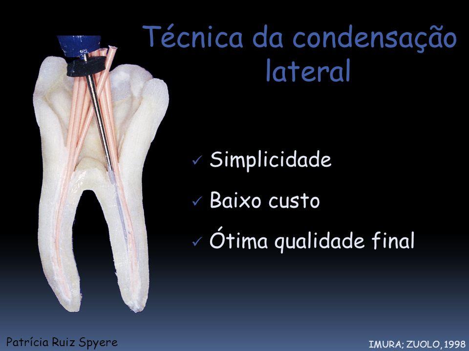 Técnica da condensação lateral Simplicidade Baixo custo Ótima qualidade final IMURA; ZUOLO, 1998 Patrícia Ruiz Spyere