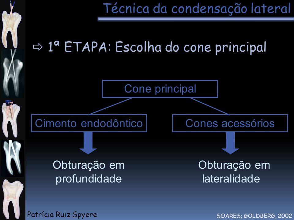 Obturação em profundidade Obturação em lateralidade Cone principal Técnica da condensação lateral SOARES; GOLDBERG, 2002 1ª ETAPA: Escolha do cone pri