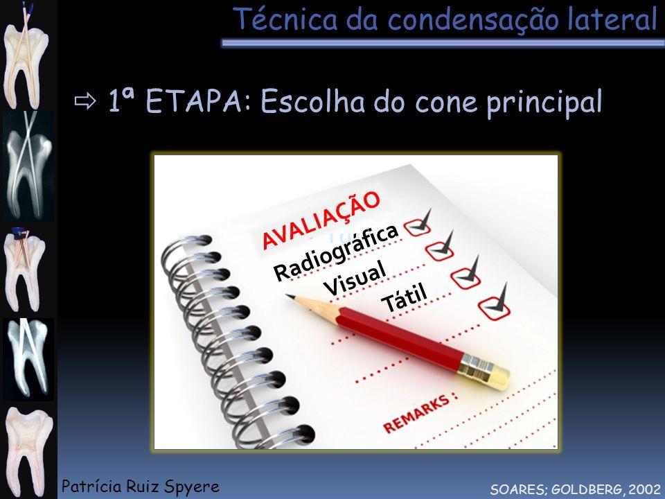 Técnica da condensação lateral SOARES; GOLDBERG, 2002 1ª ETAPA: Escolha do cone principal Visual Tátil AVALIAÇÃO Visual Tátil Radiográfica Patrícia Ru