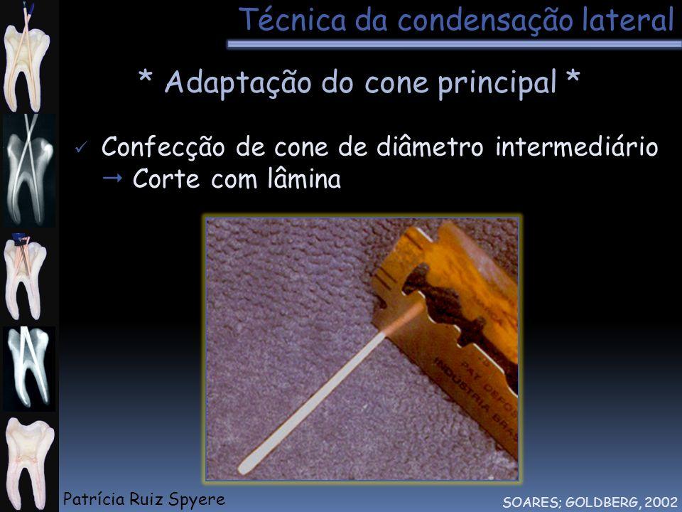 Técnica da condensação lateral SOARES; GOLDBERG, 2002 * Adaptação do cone principal * Confecção de cone de diâmetro intermediário Corte com lâmina Pat