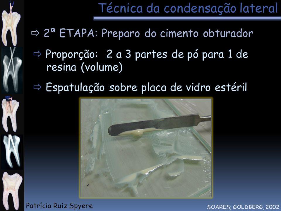Técnica da condensação lateral SOARES; GOLDBERG, 2002 2ª ETAPA: Preparo do cimento obturador Proporção: 2 a 3 partes de pó para 1 de resina (volume) E