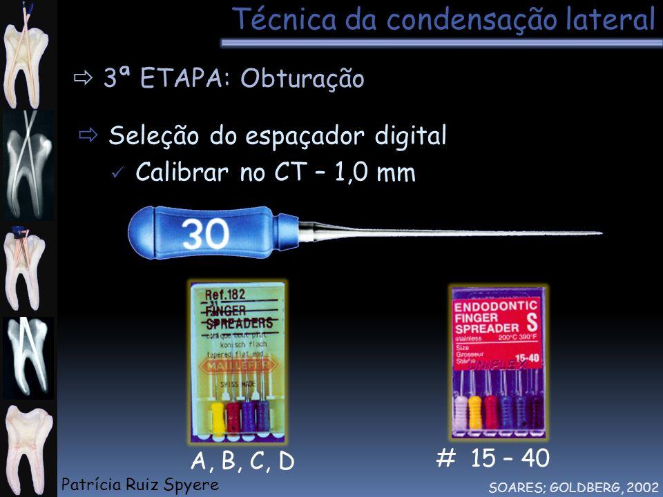 Técnica da condensação lateral SOARES; GOLDBERG, 2002 3ª ETAPA: Obturação # 15 – 40 A, B, C, D Seleção do espaçador digital Calibrar no CT – 1,0 mm Pa