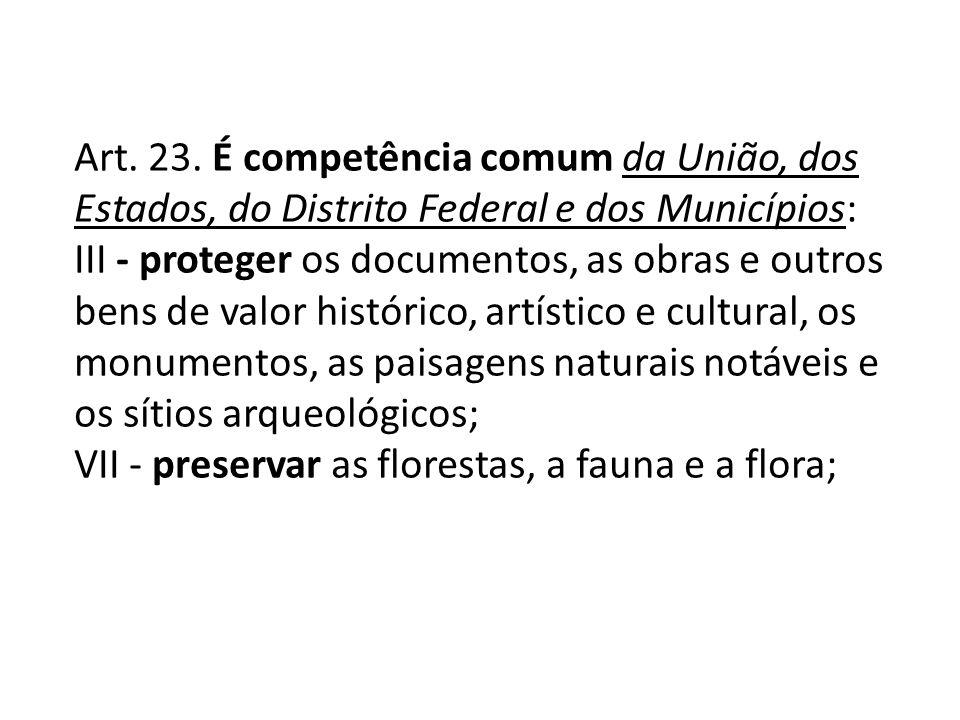Art. 23. É competência comum da União, dos Estados, do Distrito Federal e dos Municípios: III - proteger os documentos, as obras e outros bens de valo