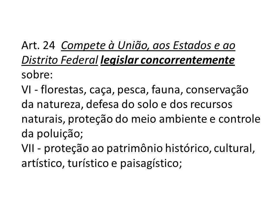 Art. 24 Compete à União, aos Estados e ao Distrito Federal legislar concorrentemente sobre: VI - florestas, caça, pesca, fauna, conservação da naturez