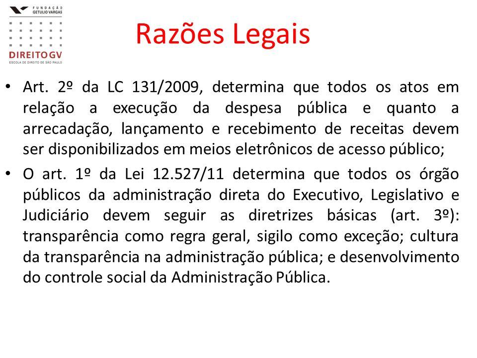 Razões Legais Art. 2º da LC 131/2009, determina que todos os atos em relação a execução da despesa pública e quanto a arrecadação, lançamento e recebi