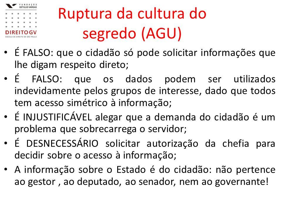 Ruptura da cultura do segredo (AGU) É FALSO: que o cidadão só pode solicitar informações que lhe digam respeito direto; É FALSO: que os dados podem se