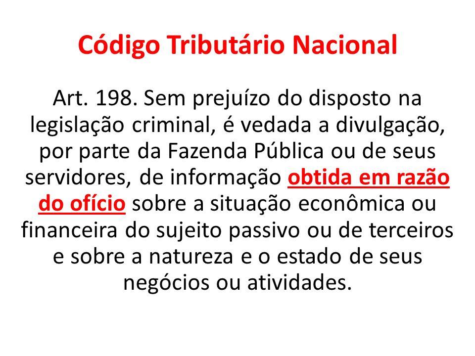 Código Tributário Nacional Art. 198. Sem prejuízo do disposto na legislação criminal, é vedada a divulgação, por parte da Fazenda Pública ou de seus s