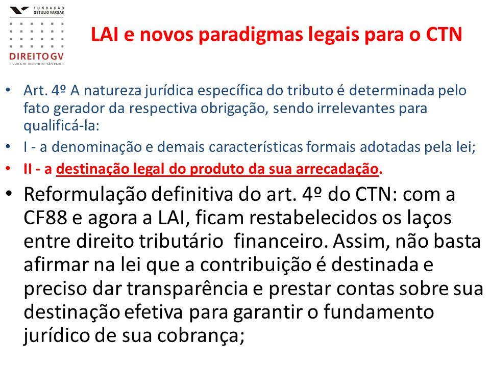 LAI e novos paradigmas legais para o CTN Art. 4º A natureza jurídica específica do tributo é determinada pelo fato gerador da respectiva obrigação, se