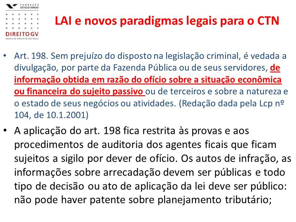 LAI e novos paradigmas legais para o CTN Art. 198. Sem prejuízo do disposto na legislação criminal, é vedada a divulgação, por parte da Fazenda Públic