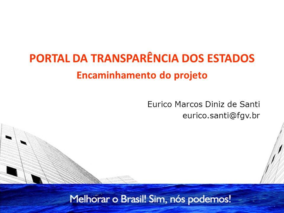 PORTAL DA TRANSPARÊNCIA DOS ESTADOS Encaminhamento do projeto Eurico Marcos Diniz de Santi eurico.santi@fgv.br