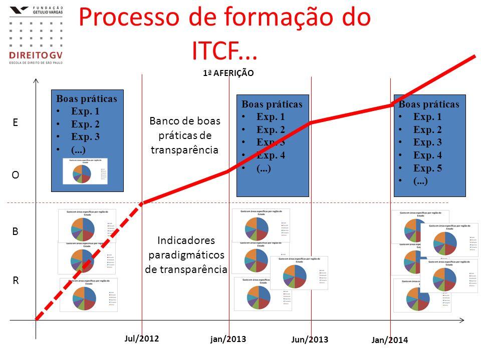 Processo de formação do ITCF... E O B R Boas práticas Exp. 1 Exp. 2 Exp. 3 (...) Jul/2012 jan/2013 Jun/2013 Jan/2014 1ª AFERIÇÃO Boas práticas Exp. 1