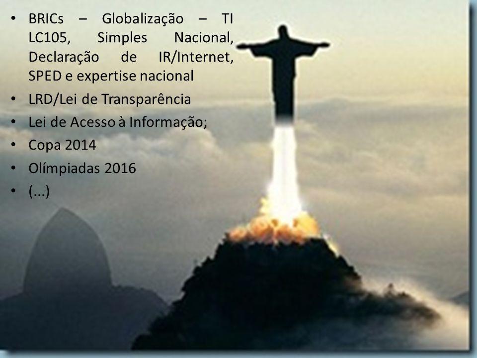 BRICs – Globalização – TI LC105, Simples Nacional, Declaração de IR/Internet, SPED e expertise nacional LRD/Lei de Transparência Lei de Acesso à Infor