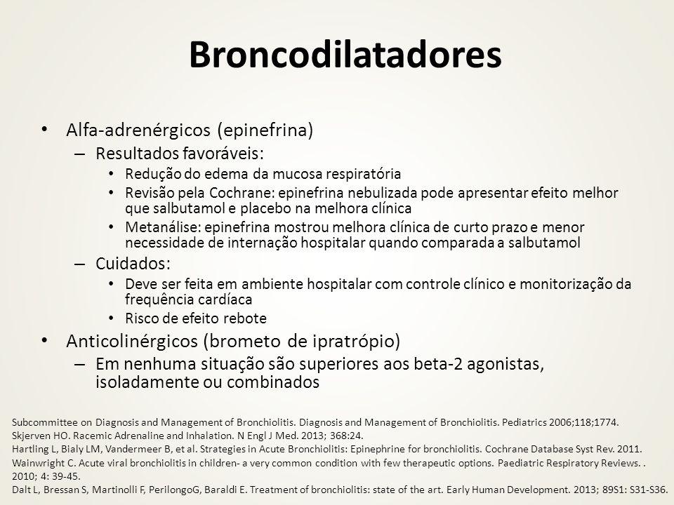 Broncodilatadores Alfa-adrenérgicos (epinefrina) – Resultados favoráveis: Redução do edema da mucosa respiratória Revisão pela Cochrane: epinefrina ne