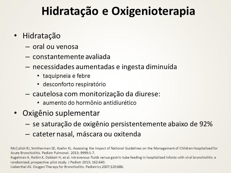 Hidratação e Oxigenioterapia Hidratação – oral ou venosa – constantemente avaliada – necessidades aumentadas e ingesta diminuída taquipneia e febre de