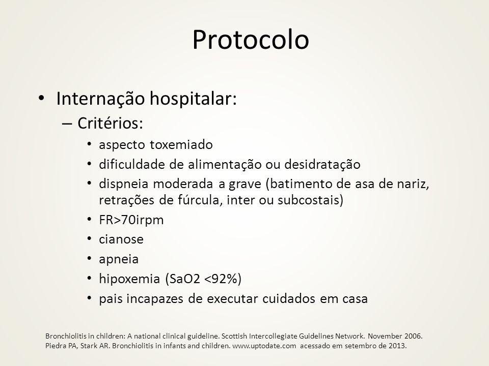 Protocolo Internação hospitalar: – Critérios: aspecto toxemiado dificuldade de alimentação ou desidratação dispneia moderada a grave (batimento de asa