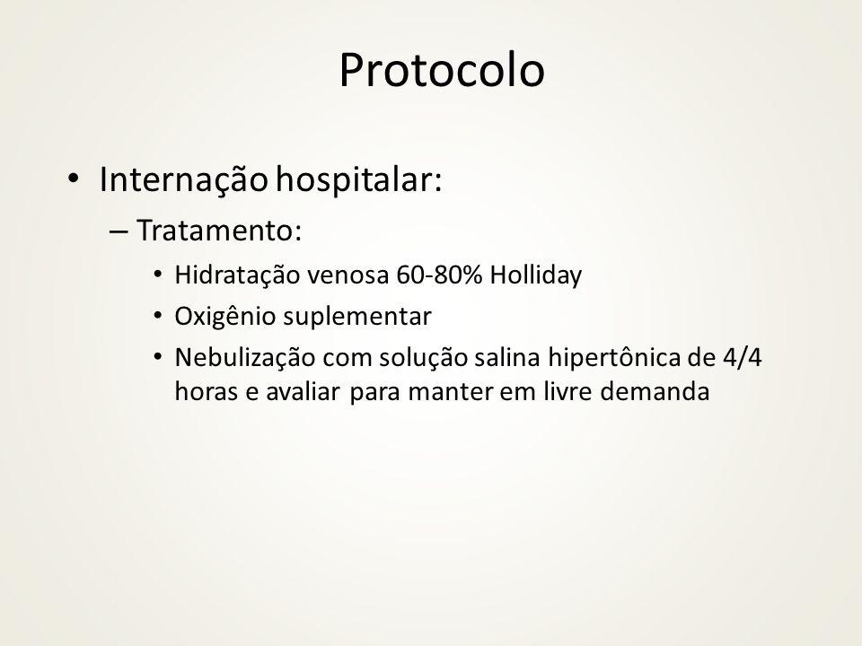 Protocolo Internação hospitalar: – Tratamento: Hidratação venosa 60-80% Holliday Oxigênio suplementar Nebulização com solução salina hipertônica de 4/