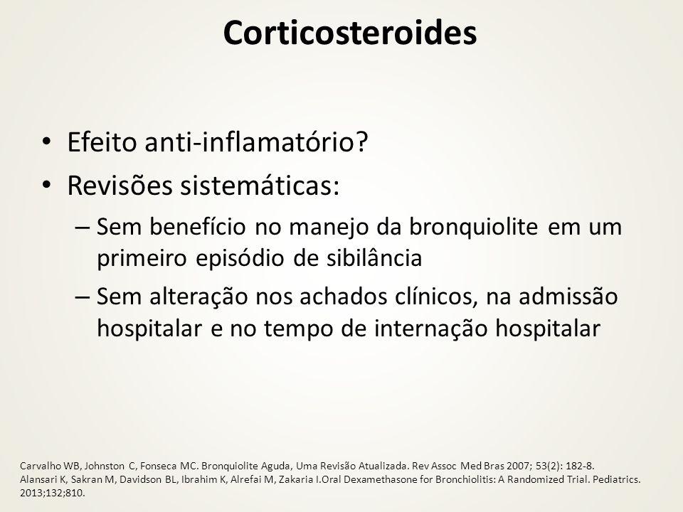 Corticosteroides Efeito anti-inflamatório? Revisões sistemáticas: – Sem benefício no manejo da bronquiolite em um primeiro episódio de sibilância – Se