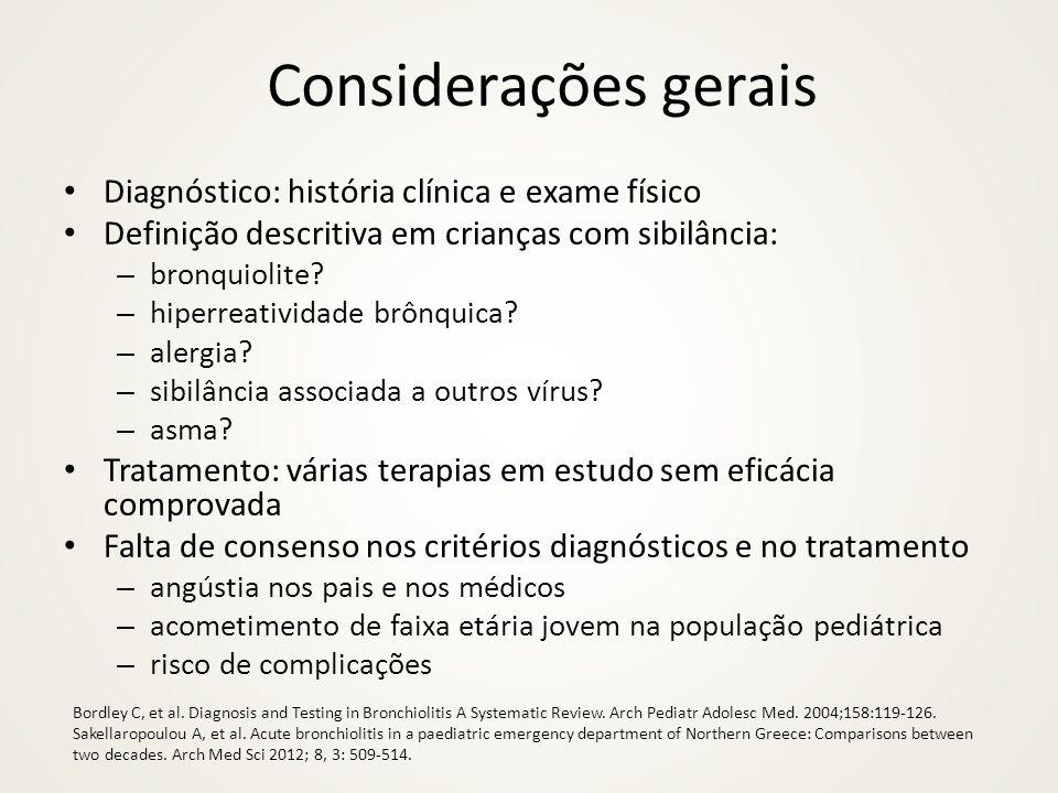Considerações gerais Diagnóstico: história clínica e exame físico Definição descritiva em crianças com sibilância: – bronquiolite? – hiperreatividade