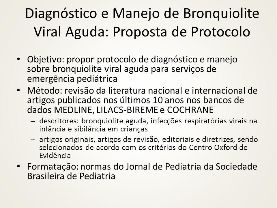 Diagnóstico e Manejo de Bronquiolite Viral Aguda: Proposta de Protocolo Objetivo: propor protocolo de diagnóstico e manejo sobre bronquiolite viral ag