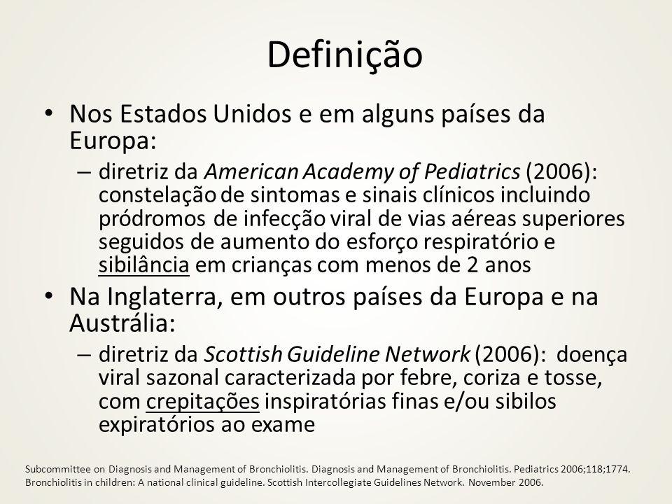 Definição Nos Estados Unidos e em alguns países da Europa: – diretriz da American Academy of Pediatrics (2006): constelação de sintomas e sinais clíni