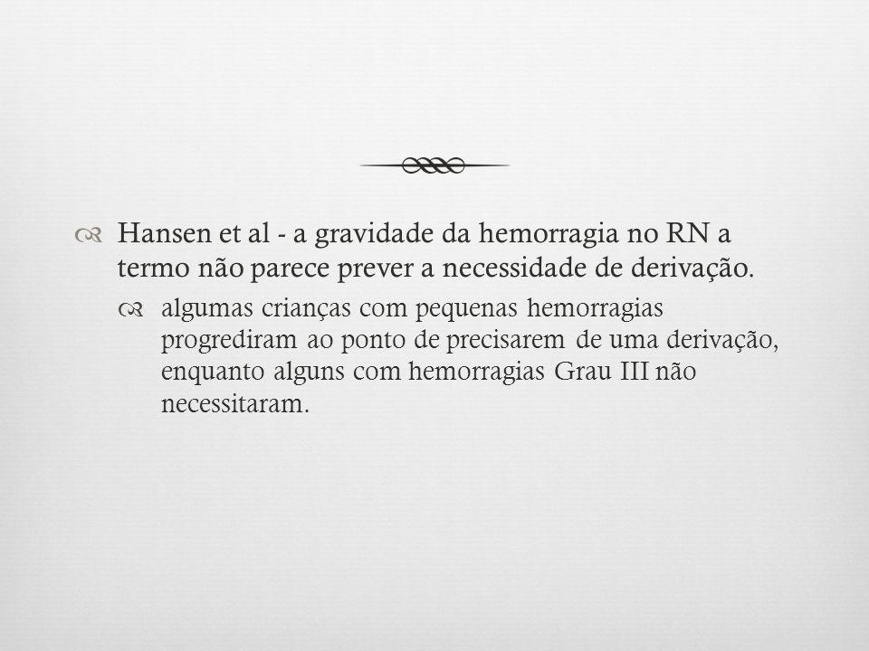 Hansen et al - a gravidade da hemorragia no RN a termo não parece prever a necessidade de derivação. algumas crianças com pequenas hemorragias progred