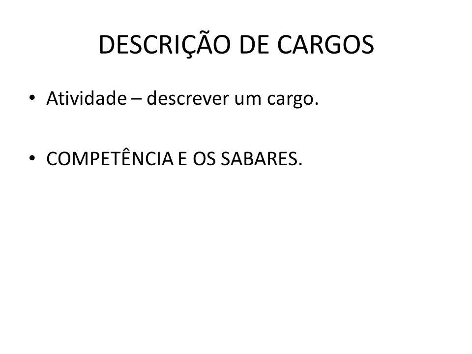 DESCRIÇÃO DE CARGOS Atividade – descrever um cargo. COMPETÊNCIA E OS SABARES.