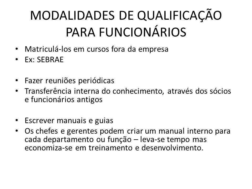 MODALIDADES DE QUALIFICAÇÃO PARA FUNCIONÁRIOS Matriculá-los em cursos fora da empresa Ex: SEBRAE Fazer reuniões periódicas Transferência interna do co