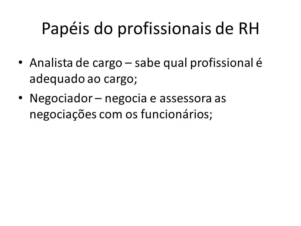 Papéis do profissionais de RH Analista de cargo – sabe qual profissional é adequado ao cargo; Negociador – negocia e assessora as negociações com os f