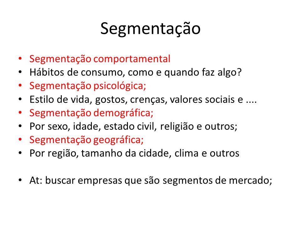 Segmentação Segmentação comportamental Hábitos de consumo, como e quando faz algo? Segmentação psicológica; Estilo de vida, gostos, crenças, valores s